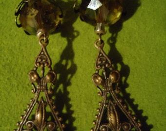 Vintage Inspired Victorian Filigree Drop Dangle Earrings