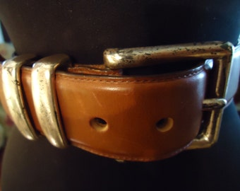 Vintage 1990s Boho Womens Ladies Caramel Colored Distressed Leather Belt With Silver Buckle