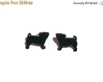 Black Pug Earrings, Small Dainty Cute Kawaii Dog Stud Earrings, Animal Jewelry