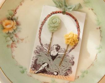 Vintage Inspired Floral Hair Pin Set