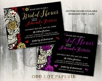 Sugar Skull Bridal Shower Invitation Offbeat Wedding Day of the Dead Dia de los Muertos DIY Printable Sugar Skull Bridal Invitation