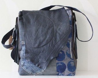 Cool denim bag with leather details
