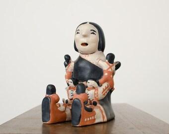 Vintage Ada Suina Storyteller Handmade Pottery Figurine w/ Nine Children - Cochiti Pueblo