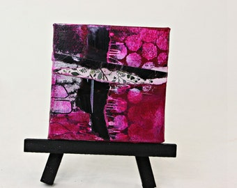 Original Miniature Acrylic and Ink Mixed Media Collage,  Magenta Abstract,  OOAK canvas with easel