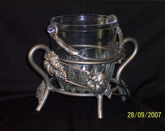 Glass ice bucket with Metal Stand of Grape Leaves and Vines