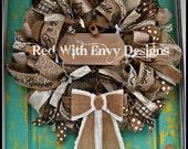 Wedding Wreath, Wreath, Wedding, Wedding Decor, Country Wreath, Mesh Wreath, Unique Wreath, OOAK Wreath