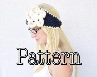 Knitting PATTERN, Flower Headband, Knitted Headband with Flower, Knitted Headband || The Katelyn