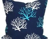 BLUE OUTDOOR PILLOWS, Blue Coral Pillow Cover, Decorative Pillow, Navy Pillow, Aqua Pillows, Outdoor, Outdoor Pillow Covers,Cm, Beach Decor