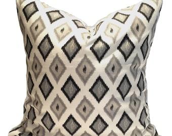 Black Pillows, 18x18 inch Black Ikat Pillow Covers, Gray Pillow, Decorative Pillows, Black Tan, Black Gray Pillow, Black Tan Pillow, Cushion