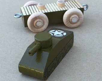 Wooden Army Tank, World War II.  Wooden WWII Toy Tank.
