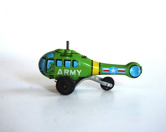 Vintage Toy Helicopter, Metal, Army