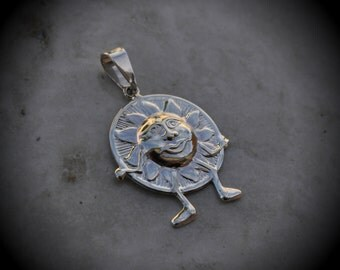 Genuine Solid 925 Sterling Silver Sun Pendant