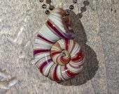 Red and Tan Spiral Ammonite Borosilicate Pendant