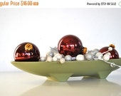 ON SALE Cranberry Christmas Tree Ornaments - Glass Balls - Set of 4