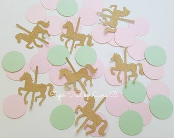 Carousel Confetti in Pink, Mint and Gold Glitter. Carousel Horse Party Decorations. Shabby Chic.  Carnival Confetti. 50CT