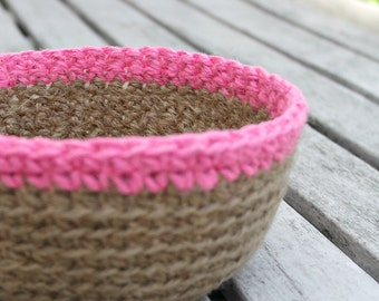 SALE Crocheted Jute Bowl Plant Pot Holder, Crochet Storage Basket, Natural Jute Basket, Jute Twine Bowl - Neon Pink Rim