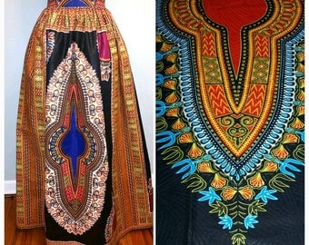 Dashiki Print Skirt (Available in the Red)