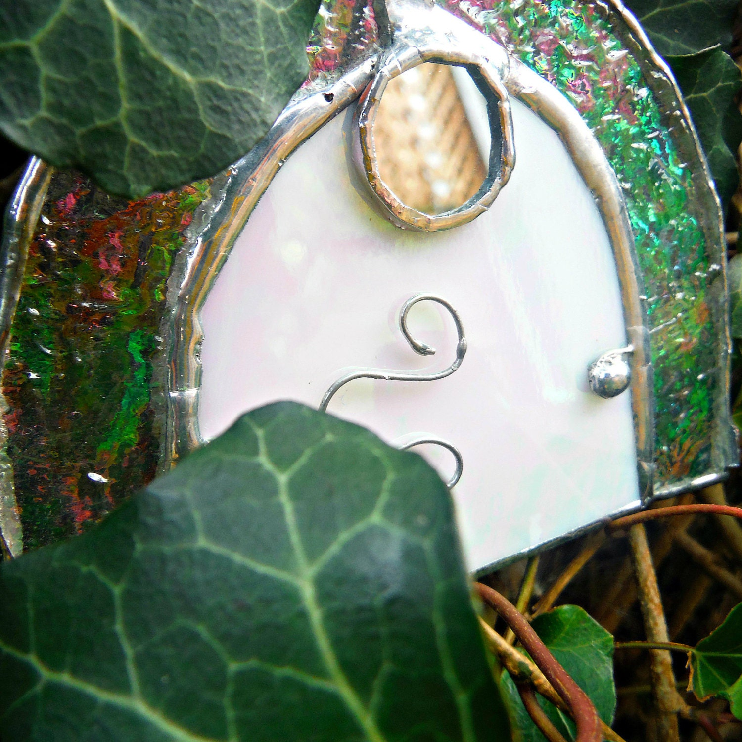 Stained glass fairy door pixie tinkerbell door elf by for Tinkerbell fairy door