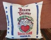 "Hearts Delight Reproduction Flour Sack Pillow Cover - Grandma's Favorite - Farmhouse Chic Pillow - 20"""