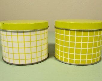 Small Round Yellow Tins - Vintage Storage Containers White Stripe