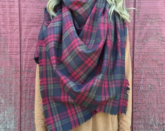 Large Blanket Scarf: Berry & Olive Plaid Flannel