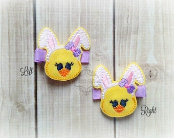 Bunny Chick hair clip Bunny clip Easter hair clip. Pick Left side or Right.