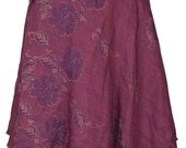 Mid-Calf Length Vintage Silk Sari Magic Wrap Skirt Reversible Dress Multi Layered India DT58