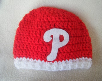 Crocheted Phillies Inspired Beanie/Hat - MADE TO ORDER - Handmade by Me