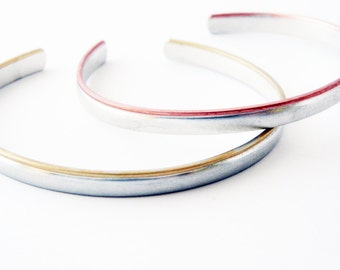 Mixed metal jewelry-  silver bracelet, mixed metal cuff bracelet, brides maid jewelry
