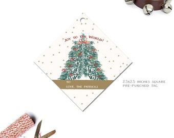 Watercolor Christmas Tree Gift Tag--Monogrammed or Personalized Xmas Gift Tags
