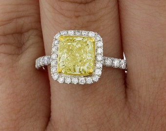 Fancy Yellow Cushion Cut Diamond Engagement Ring GIA 4.00 Ct 4 Ct Halo Platinum