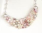 Pink Bridal Necklace-Romantic Bridal Bib- Rosey pink Bib Necklace- Pink Statement Necklace- Rose Pink Statement Bib-Wedding Bib-Brass Boheme
