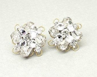 Bridal Cluster Earrings- Art Deco Bridal Earrings- Rhinestone Wedding Earrings- Pearl Bridal Studs- Vintage Inspired Studs- Brass Boheme