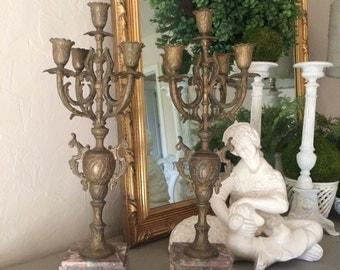Antique Brass Girandole Candelabra Pair French Candelabra
