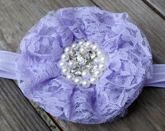 Lavender, Pearl, and Sparkle Lace Flower on a Stretchy Lavender Matching Headband