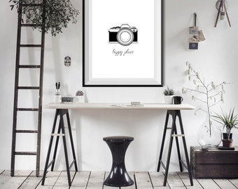 Happy Place Camera Photography Photographer shooting Word Quote  -  Minimalist Art - Office Decor - Poster Wall Art Home Decor Typography