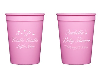 Twinkle Twinkle Little Star Personalized Stadium Plastic Cups - Baby Shower Stadium Cups  - Shower Favor