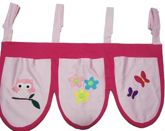 Pink Bed Pockets with patterns / bed storage / toy storage / bed pocket organizer / bedside storage