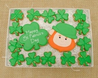 Decorated Cookies - St Patricks Day - Leprechaun - Shamrocks - Gift Box