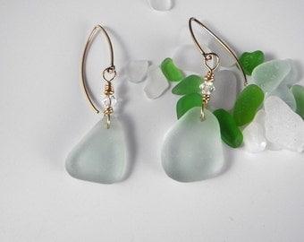 Soft Green Sea Glass Earrings,  Light Green Beach Glass, Genuine Sea Glass, Mystical Moon Designs, Sea Glass Jewelry, Coca Cola Sea Glass