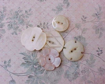 5 Pretty Victorian Carved Mother-of-Pearl Buttons in Different Shapes