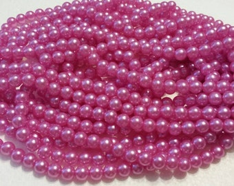 100 Size 8mm Round Beads - 100 Vintage Hot Pink Pearl Beads, Bulk beads for jewelry, weddings, floral bouquets, embellishments