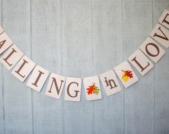 falling in love banner, fall wedding banner, autumn wedding banner, fall engagement banner, autumn engagement banner