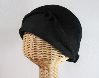 Black Cloche Hat in Velour Felt ~ Cora ~ sculptural, flapper style, gatsby, dinner party ~ handmade by Bonnet, your local Portland millinery