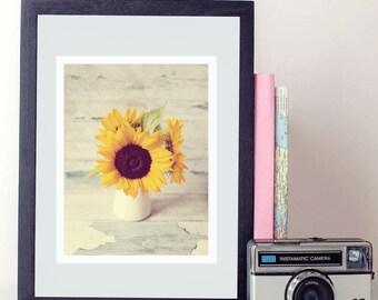 sunflower vintage photo print - whimsical fine art photography, nursery wall art, colour, yellow, sunflowers, british, dreamy, wall art