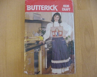 Vintage 1970s Butterick Pattern 4636, Full Apron with Appliqued Quilted Bodice, One Size, UNCUT