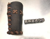 Leather Dice Cup, Dice and Cup, Metal Dice, Handmade Leather Cup, Hand Forged Dice Cup, Game