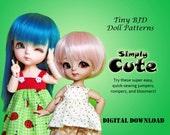 Simply Cute Jumper dress Romper clothes pattern for 16cm Tiny BJD: PukiFee Lati Yellow Tiny Delf & similar sized dolls