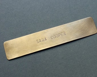 Personalized Bookmark, hand stamped brass keepsake, weddings, gift for reader, name bookmark, custom bookmark, quote 1 line of text