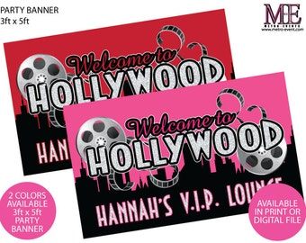 Hollywood Birthday Banner, 3ftx5ft Party Banner